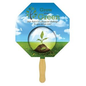 Octagon Glued Hand Fan (1 Sided/ Four color Process imprint)