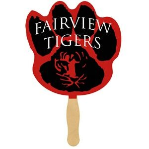 Paw Print Glued Hand Fan (1 Side/ 4 color process imprint)