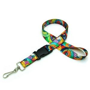 "7/8"" Digitally Sublimated Lanyard w/ Detachable Buckle"
