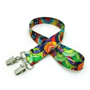 "7/8"" Digitally Sublimated Lanyard w/ Double Standard Attachment"